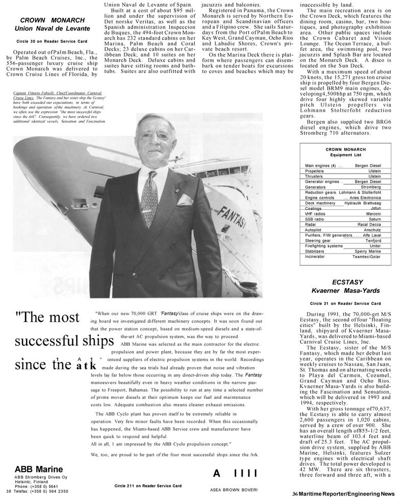 Maritime Reporter Magazine, page 34,  Mar 1992 Vittorio Fabielli