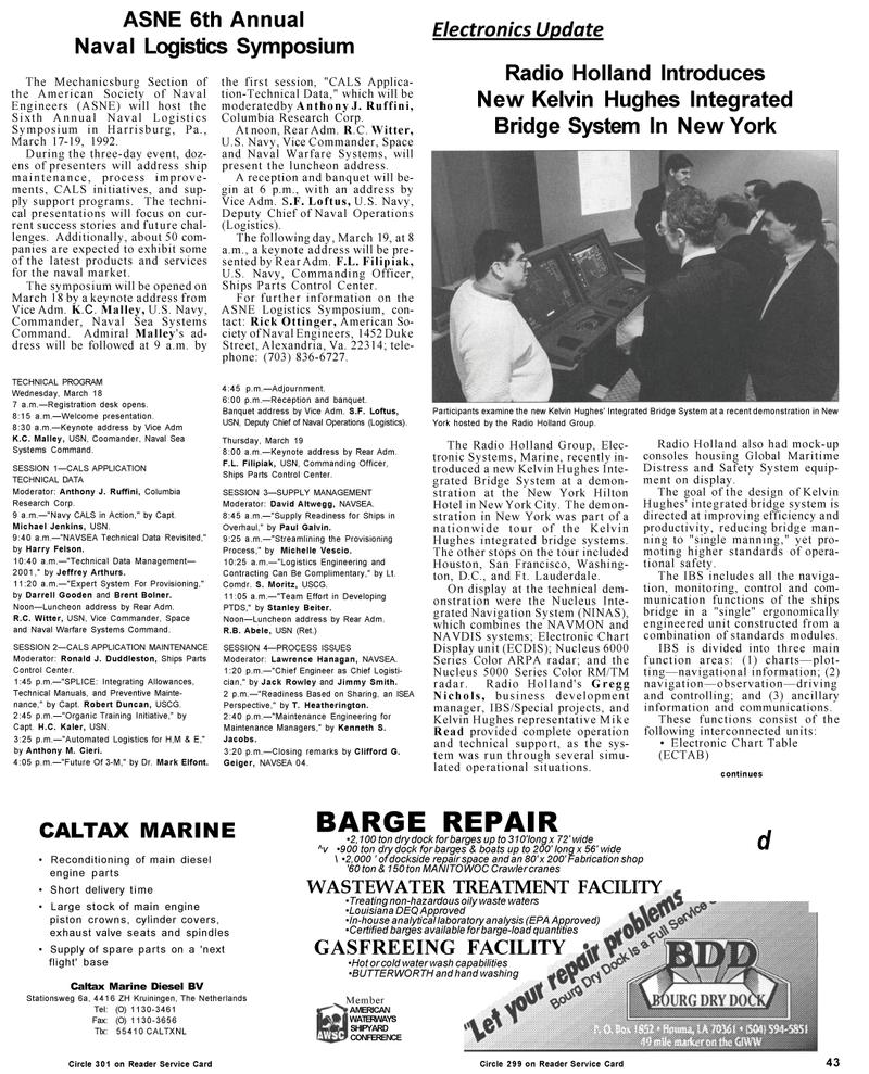 Maritime Reporter Magazine, page 43,  Mar 1992