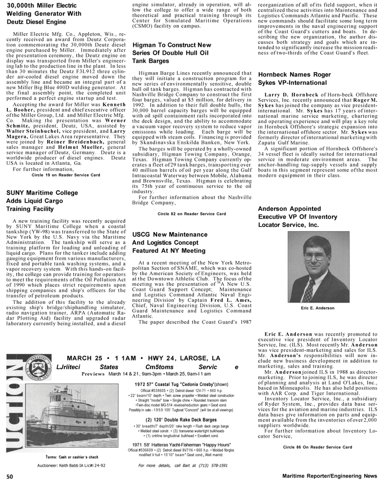 Maritime Reporter Magazine, page 50,  Mar 1992