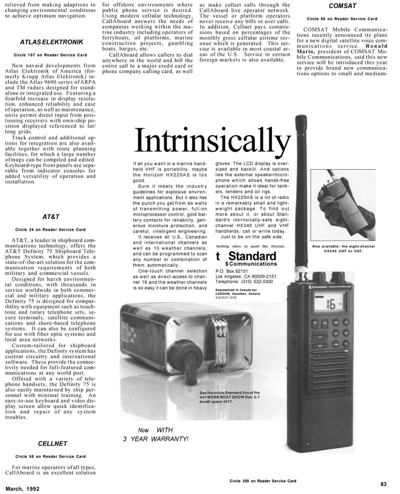 Maritime Reporter Magazine, page 65,  Mar 1992 Ontario