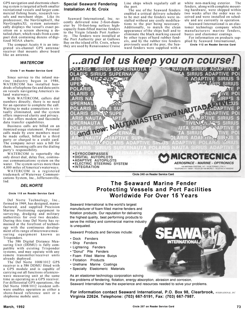 Maritime Reporter Magazine, page 73,  Mar 1992