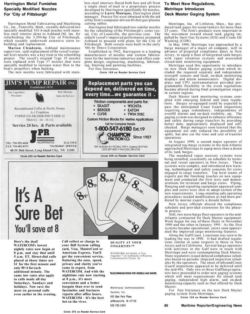 Maritime Reporter Magazine, page 74,  Mar 1992 Mid-Atlantic