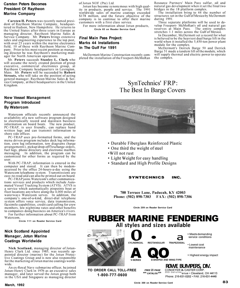 Maritime Reporter Magazine, page 77,  Mar 1992