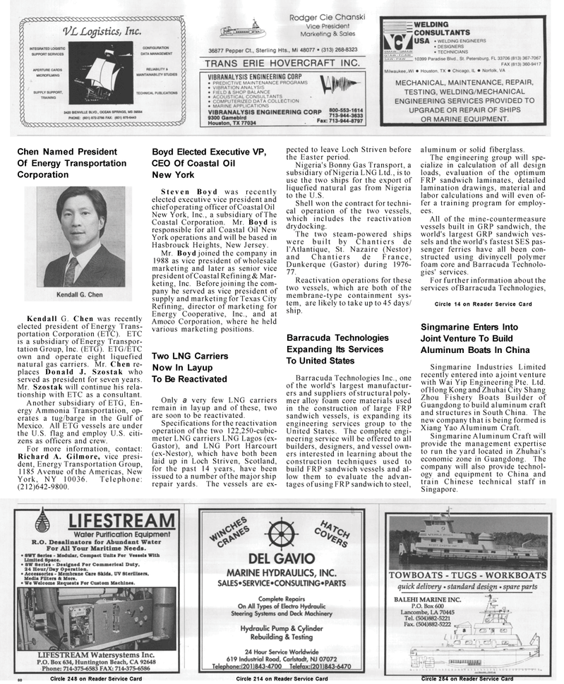 Maritime Reporter Magazine, page 80,  Mar 1992 New Jersey