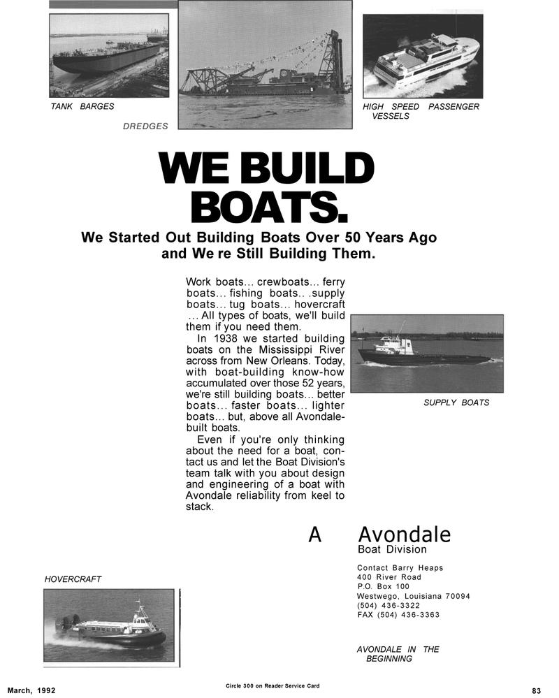 Maritime Reporter Magazine, page 83,  Mar 1992