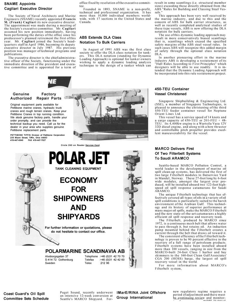 Maritime Reporter Magazine, page 86,  Mar 1992