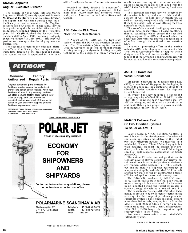 Maritime Reporter Magazine, page 88,  Mar 1992