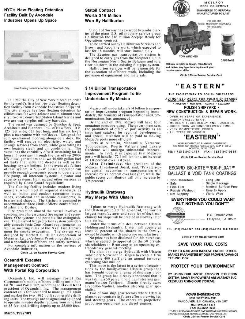 Maritime Reporter Magazine, page 93,  Mar 1992