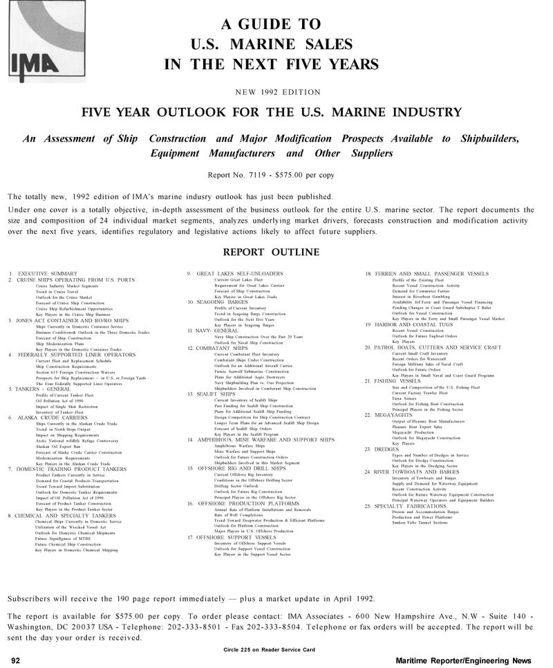 Maritime Reporter Magazine, page 94,  Mar 1992