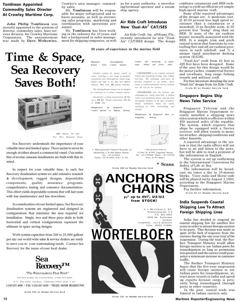 Maritime Reporter Magazine, page 12,  May 1992 C. J. Wortelboer jr.