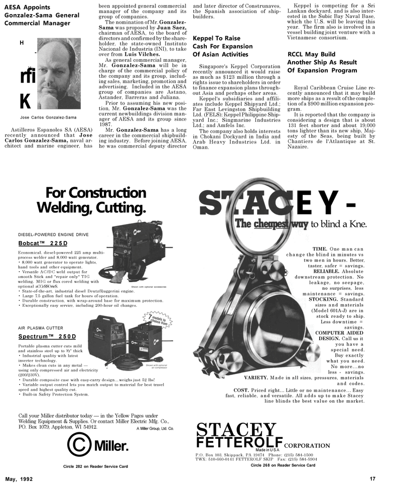 Maritime Reporter Magazine, page 17,  May 1992 STACEY FETTEROLF