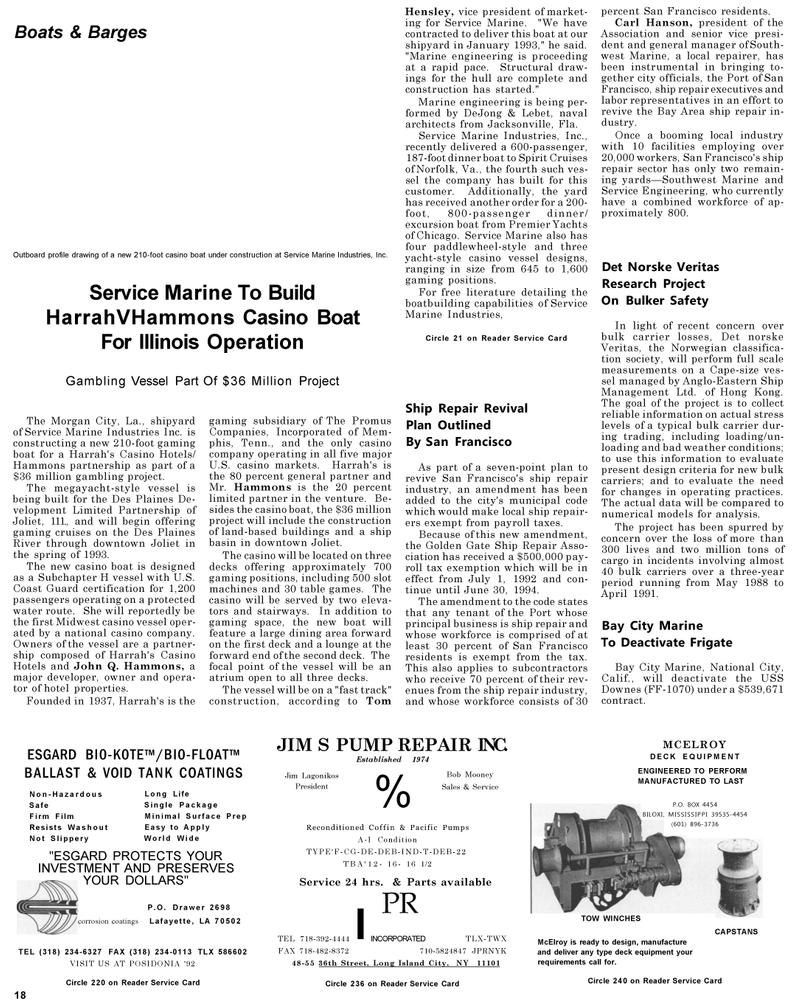 Maritime Reporter Magazine, page 18,  May 1992 California