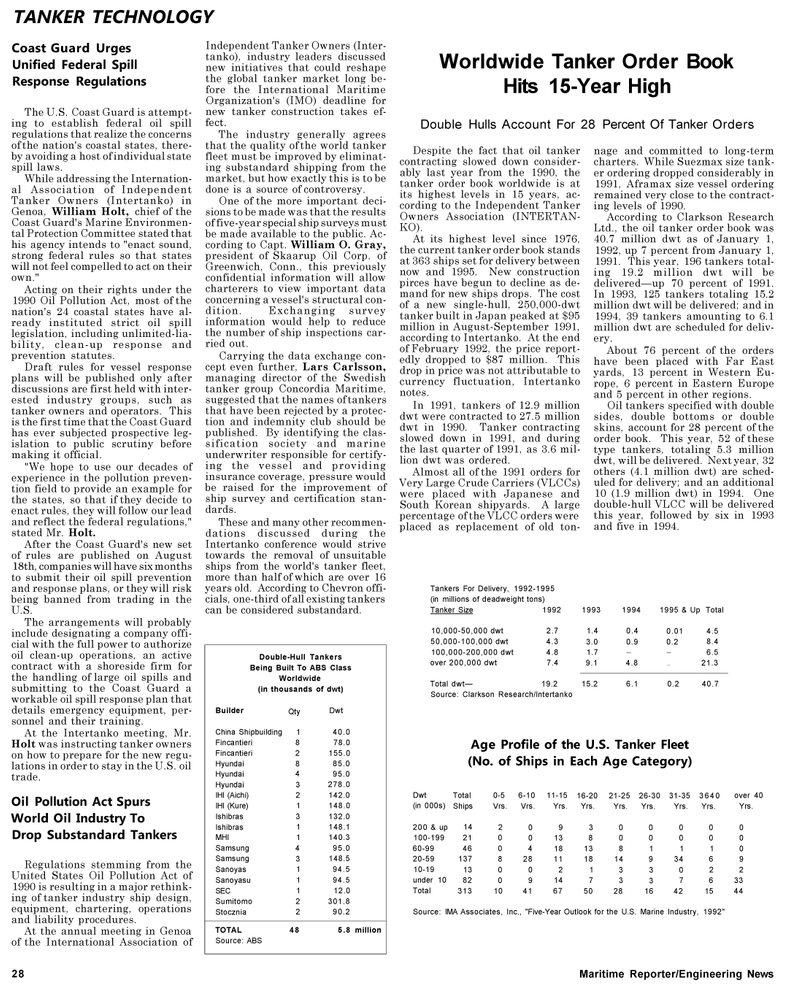 Maritime Reporter Magazine, page 28,  May 1992 Connecticut