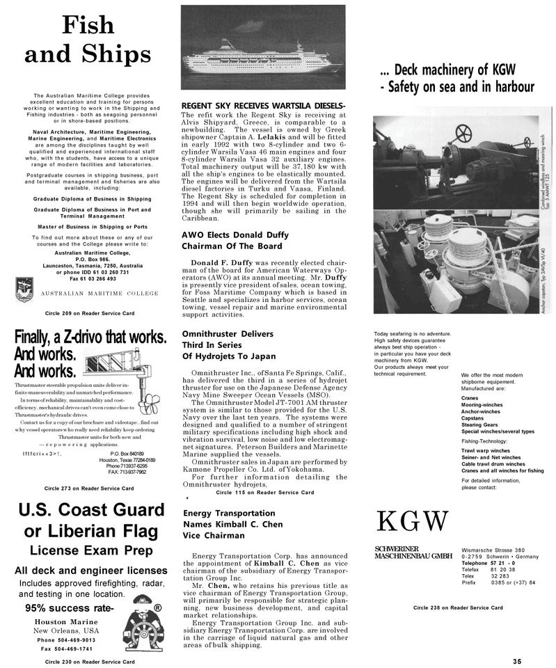 Maritime Reporter Magazine, page 35,  May 1992 Tasmania