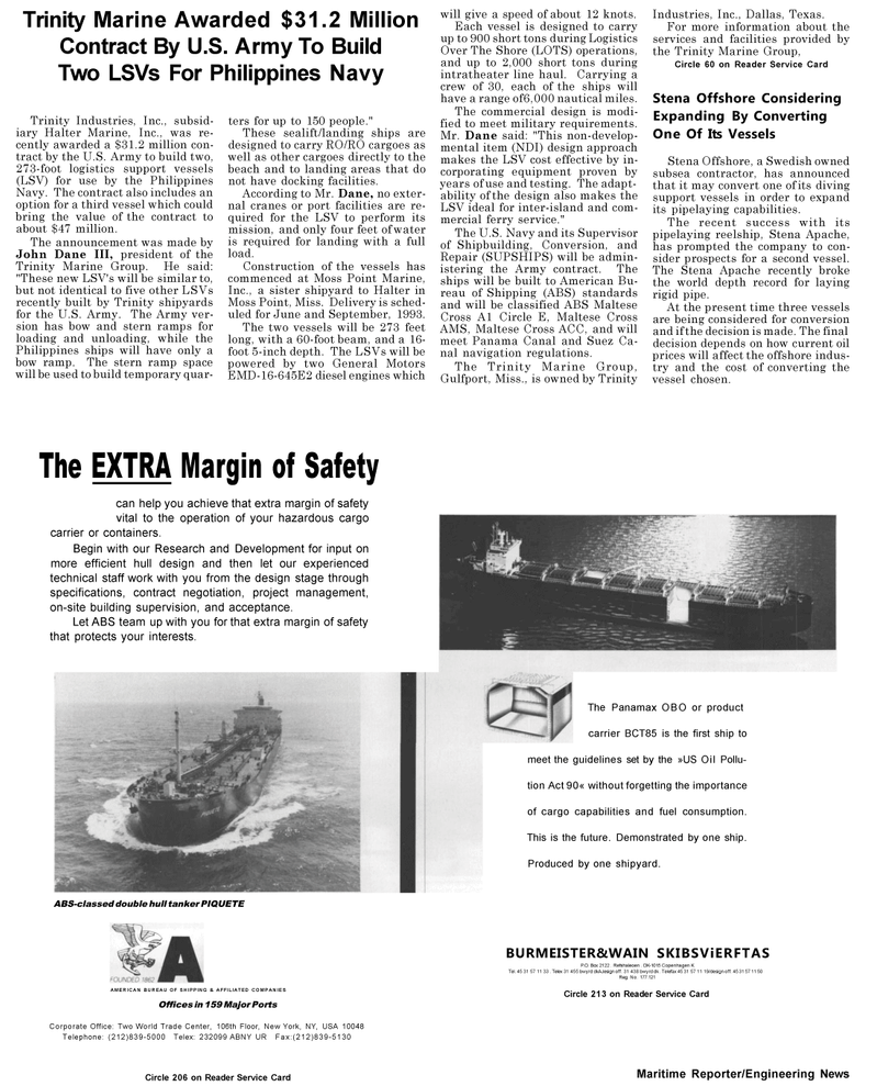 Maritime Reporter Magazine, page 38,  May 1992 United States Navy