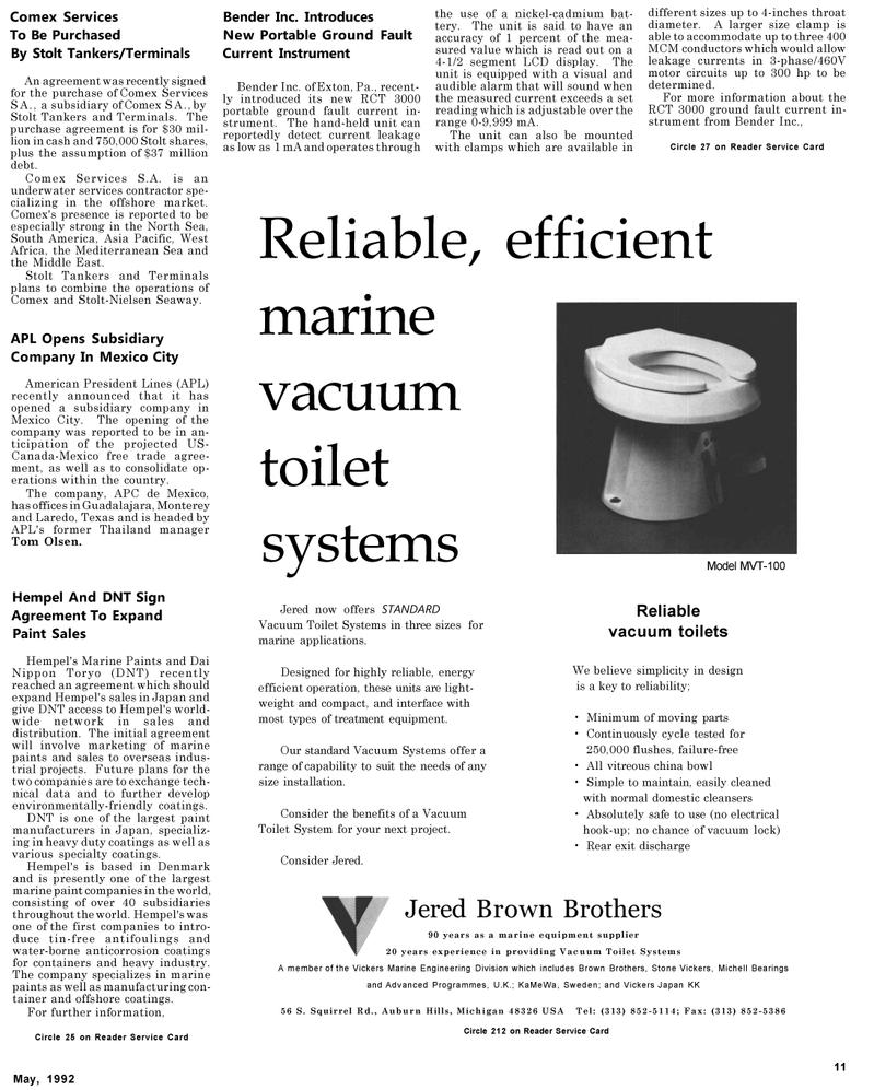 Maritime Reporter Magazine, page 45,  May 1992 Pennsylvania