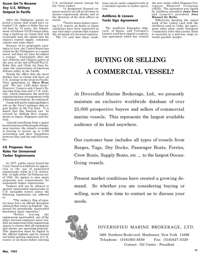 Maritime Reporter Magazine, page 55,  May 1992 Juan Saez
