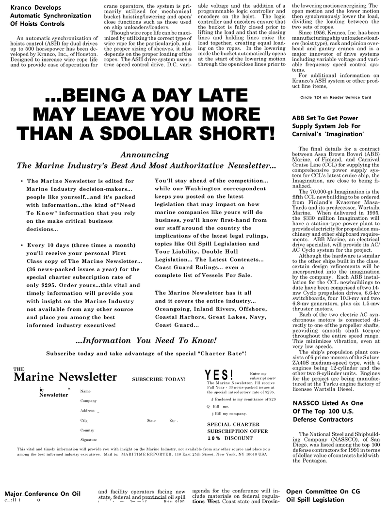 Maritime Reporter Magazine, page 58,  May 1992 Great Lakes