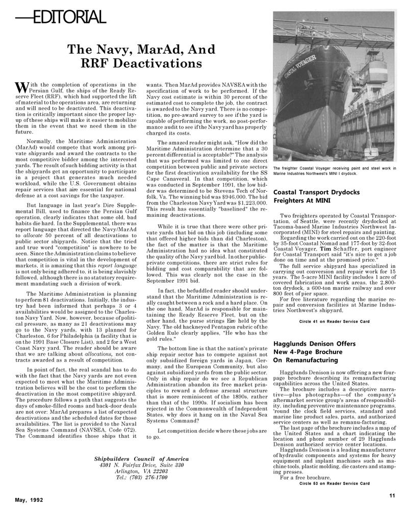 Maritime Reporter Magazine, page 59,  May 1992 Tim Schaffer