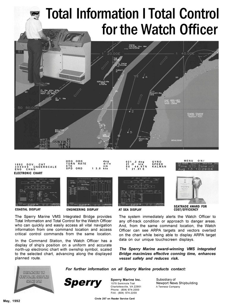 Maritime Reporter Magazine, page 5,  May 1992 EFFICIENCY The Sperry Marine VMS Integrated Bridge