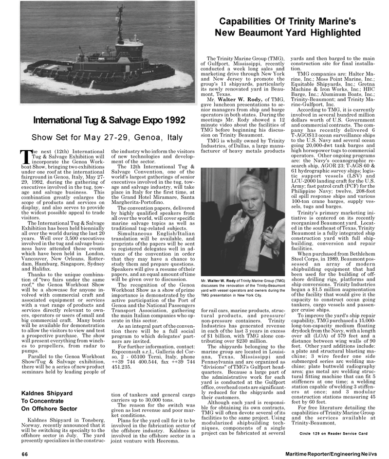 Maritime Reporter Magazine, page 74,  May 1992 New Jersey