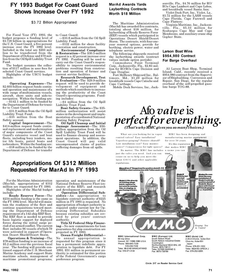 Maritime Reporter Magazine, page 79,  May 1992 Maryland