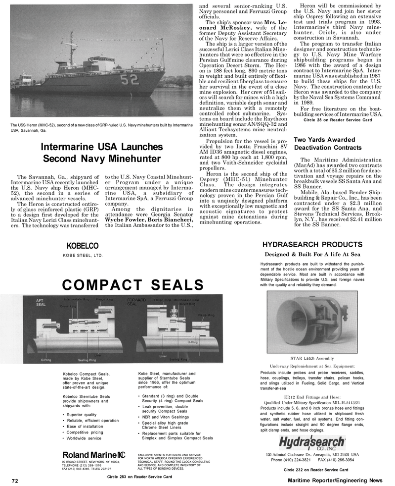 Maritime Reporter Magazine, page 80,  May 1992 Oriole