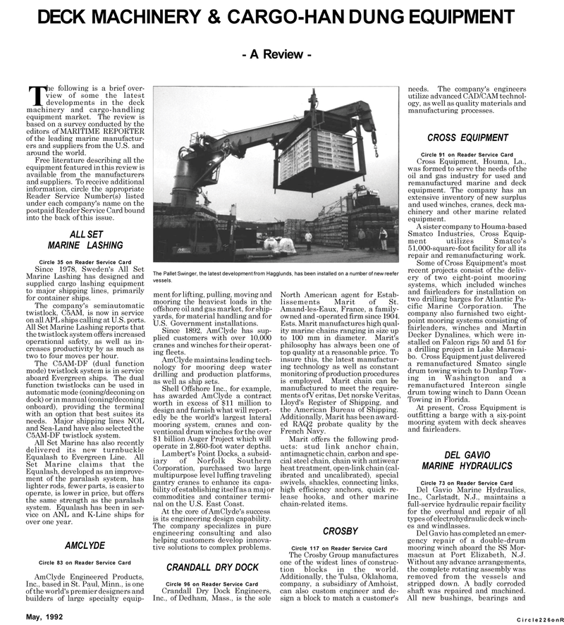 Maritime Reporter Magazine, page 81,  May 1992 US East Coast