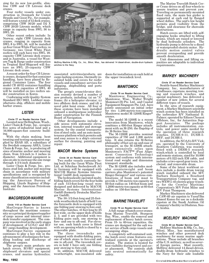 Maritime Reporter Magazine, page 3rd Cover,  May 1992 Washington