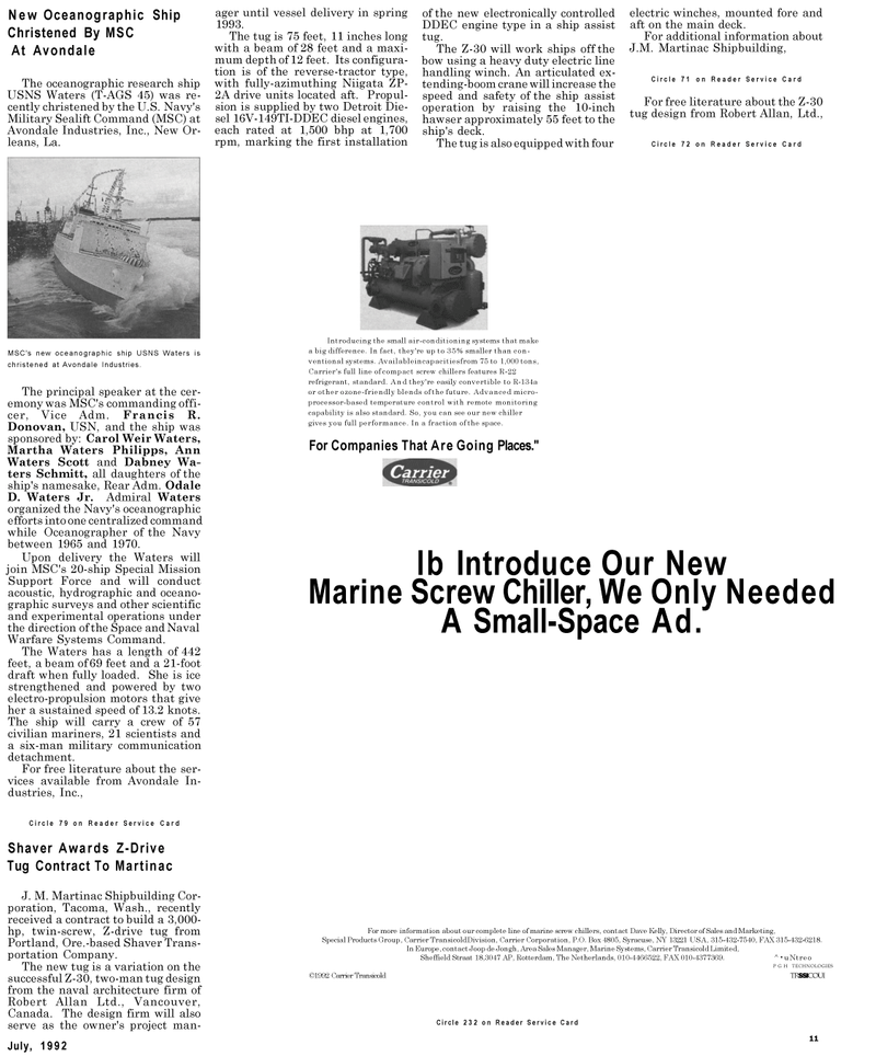 Maritime Reporter Magazine, page 13,  Jul 1992