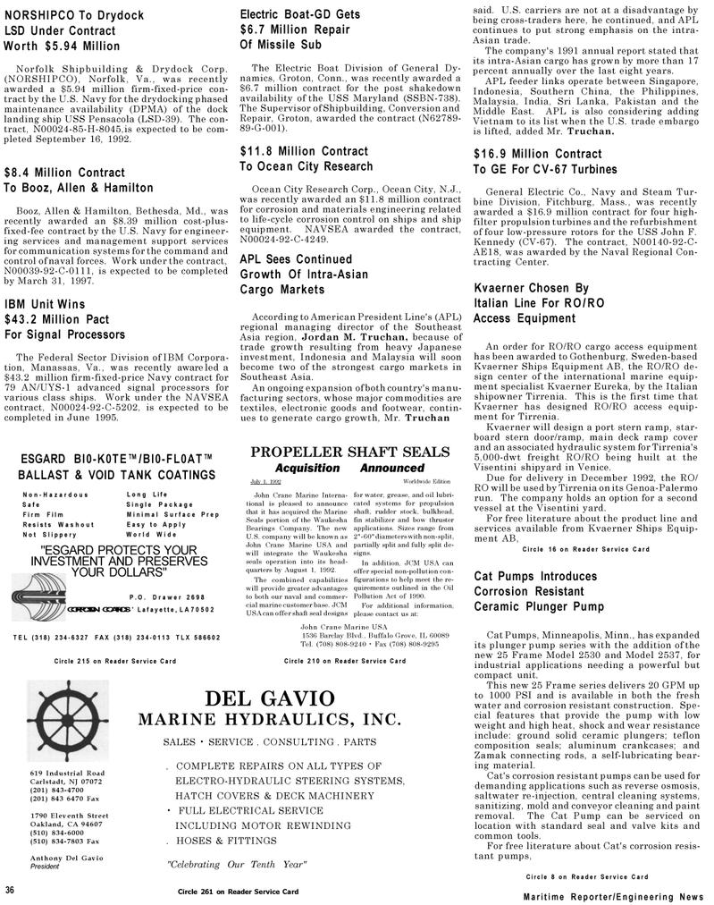 Maritime Reporter Magazine, page 34,  Jul 1992
