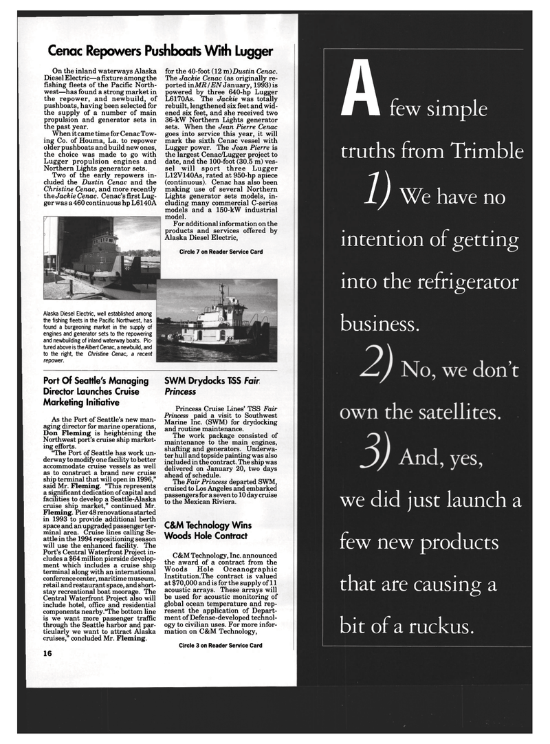 Maritime Reporter Magazine, page 14,  Mar 1994 Launches Cruise