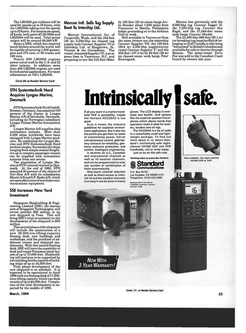 Maritime Reporter Magazine, page 21,  Mar 1994