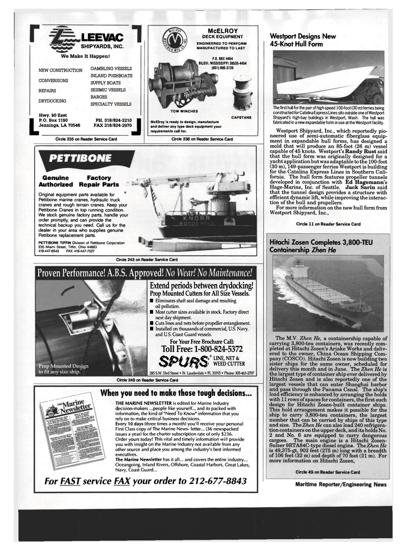 Maritime Reporter Magazine, page 22,  Mar 1994