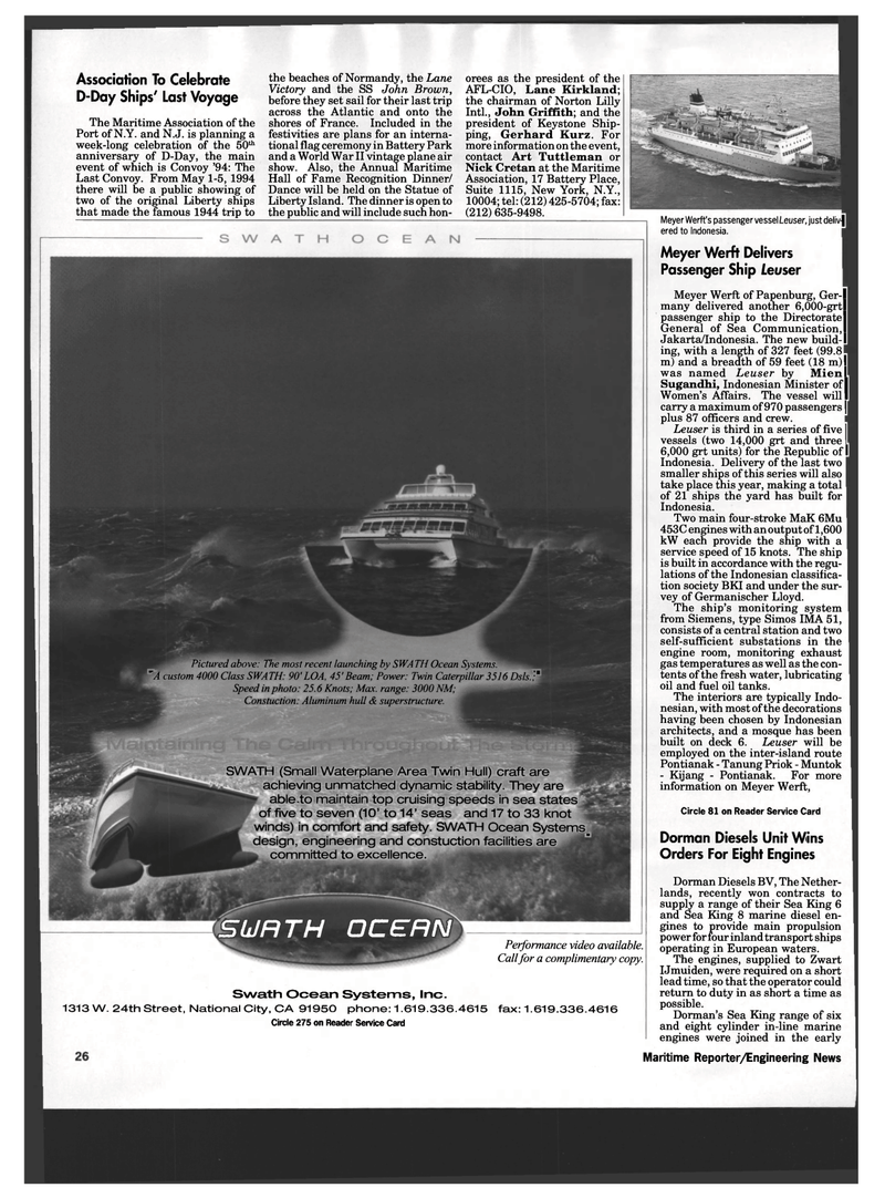 Maritime Reporter Magazine, page 24,  Mar 1994 New Mexico