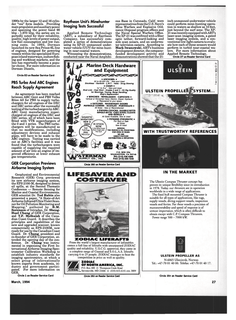 Maritime Reporter Magazine, page 25,  Mar 1994 Environmental Research