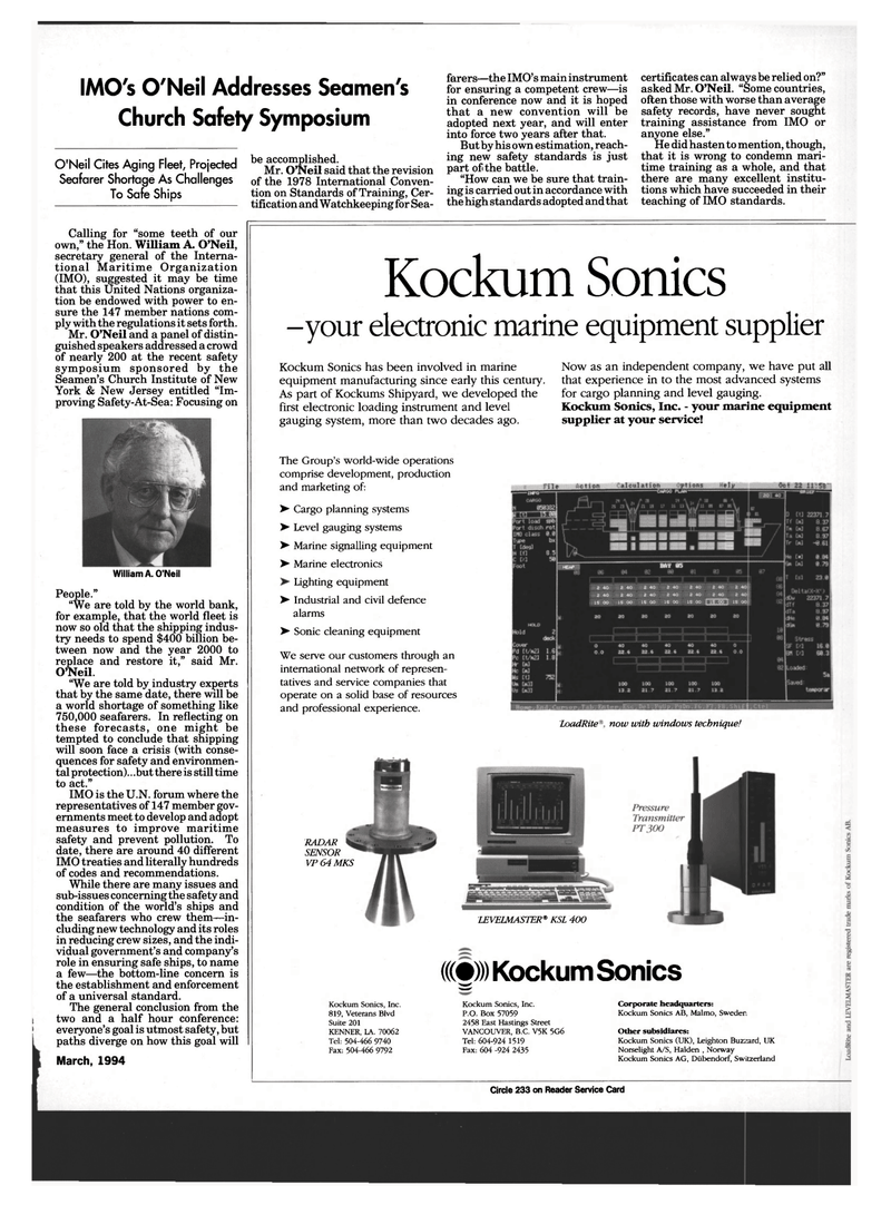 Maritime Reporter Magazine, page 71,  Mar 1994