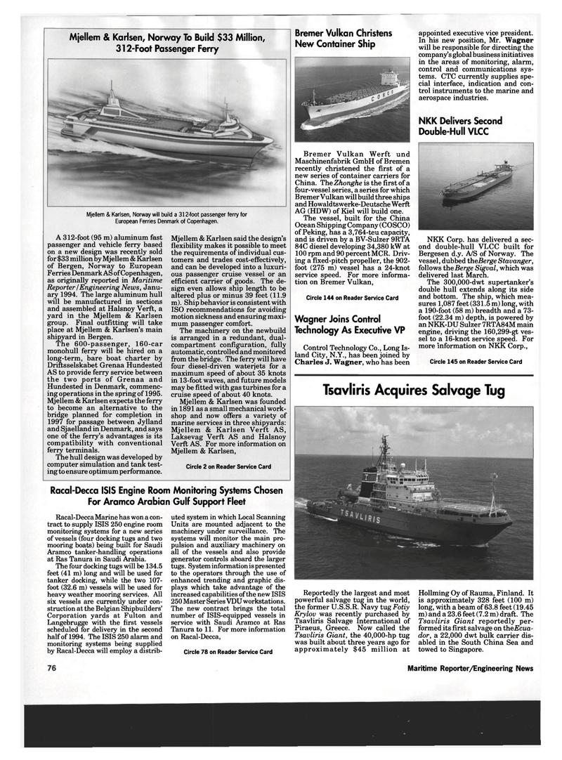 Maritime Reporter Magazine, page 74,  Mar 1994 New York