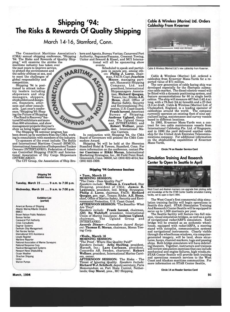 Maritime Reporter Magazine, page 89,  Mar 1994 Thomas E. Moran