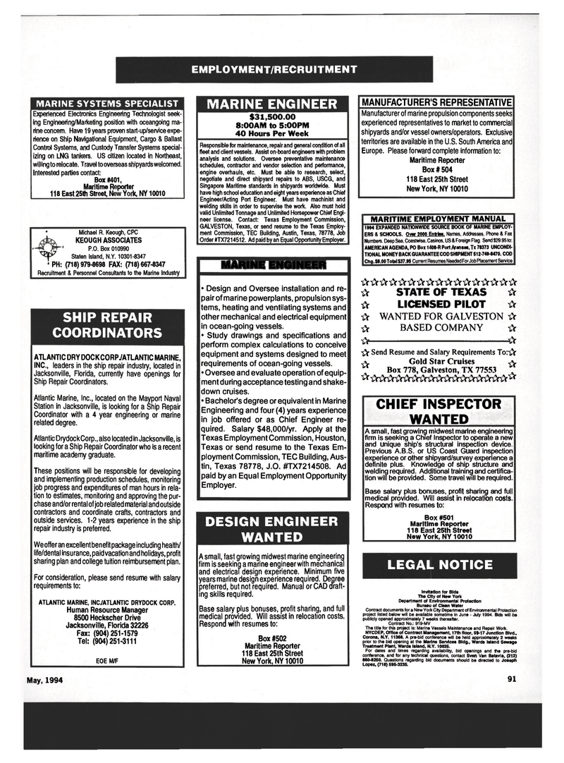 86 Maritime Reporter Magazine, page 87, May 1994 Florida ...
