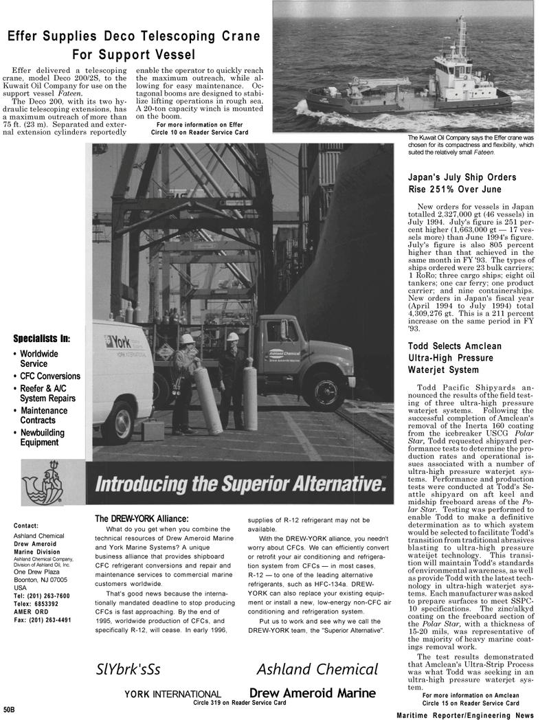 Maritime Reporter Magazine, page 12,  Sep 1994 Deco Telescoping Crane