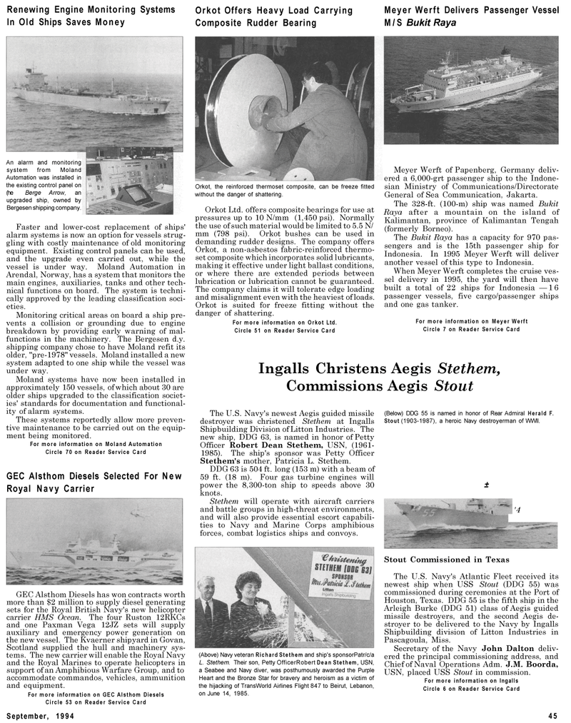 Maritime Reporter Magazine, page 43,  Sep 1994 Arrow