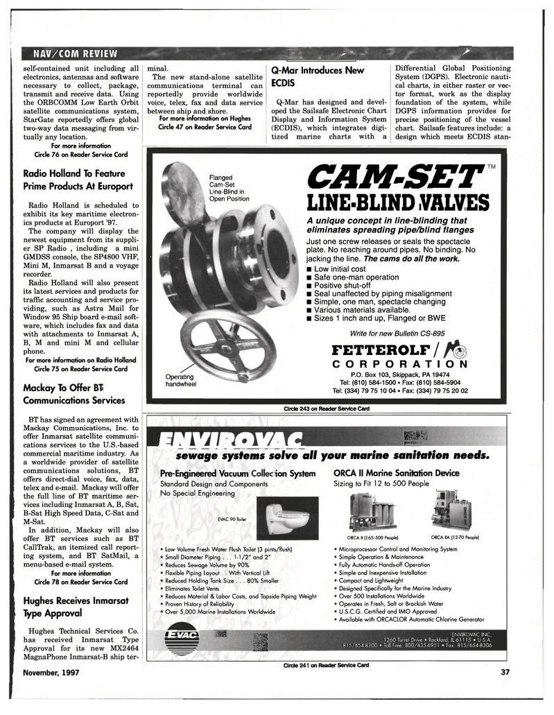Satellite Communications System Maritime Reporter Magazine Piping Layout Pictures 38 Page 39 Nov 1997 Pennsylvania