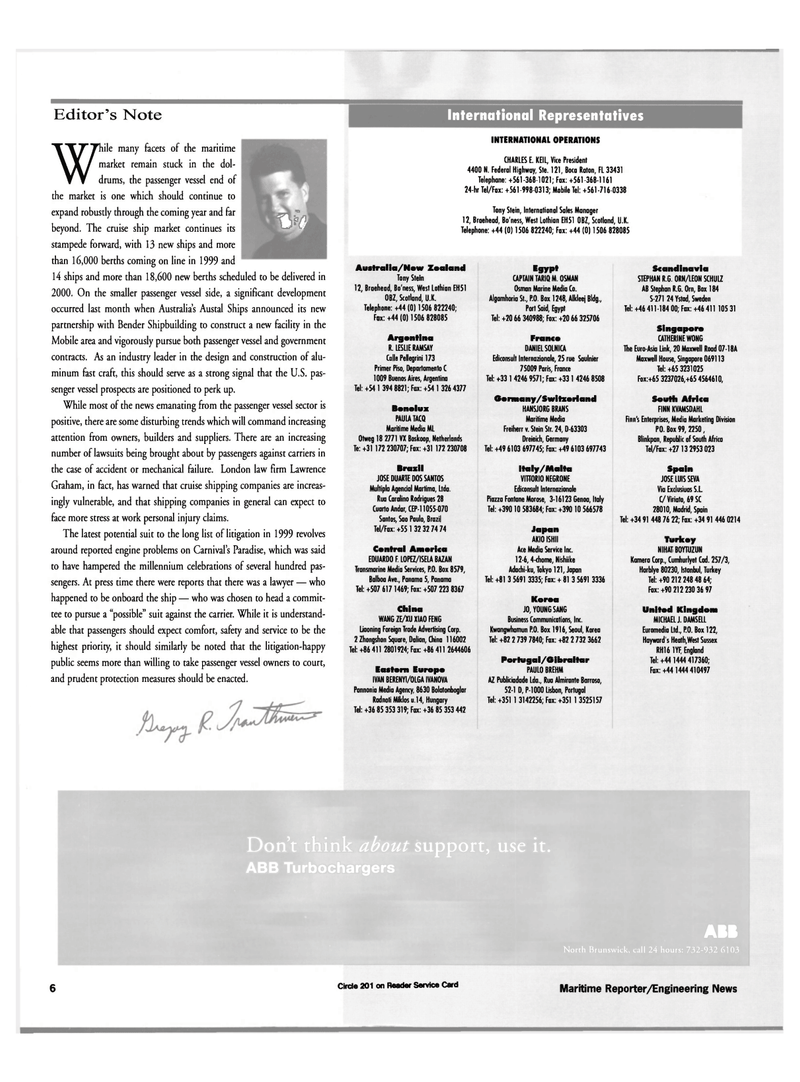 Maritime Reporter Magazine, page 6,  Jan 2000 Benelux