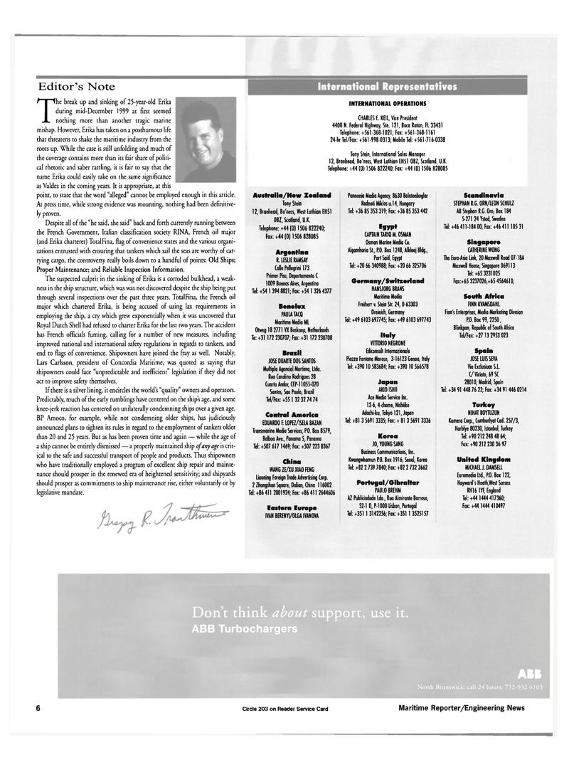Maritime Reporter Magazine, page 6,  Feb 2000 Benelux