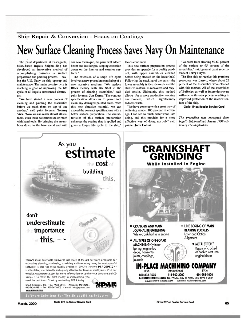 Maritime Reporter Magazine, page 65,  Mar 2000 cast iron engine