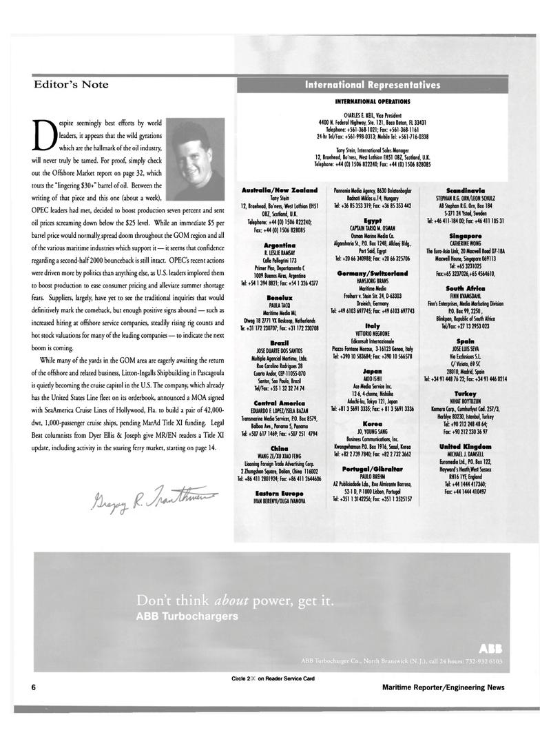 Maritime Reporter Magazine, page 6,  Apr 2000 Benelux