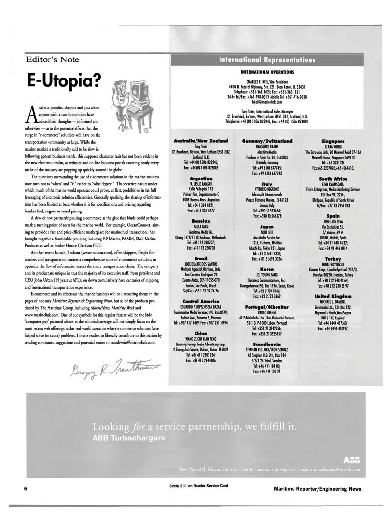Maritime Reporter Magazine, page 6,  May 2000 Scandinavia