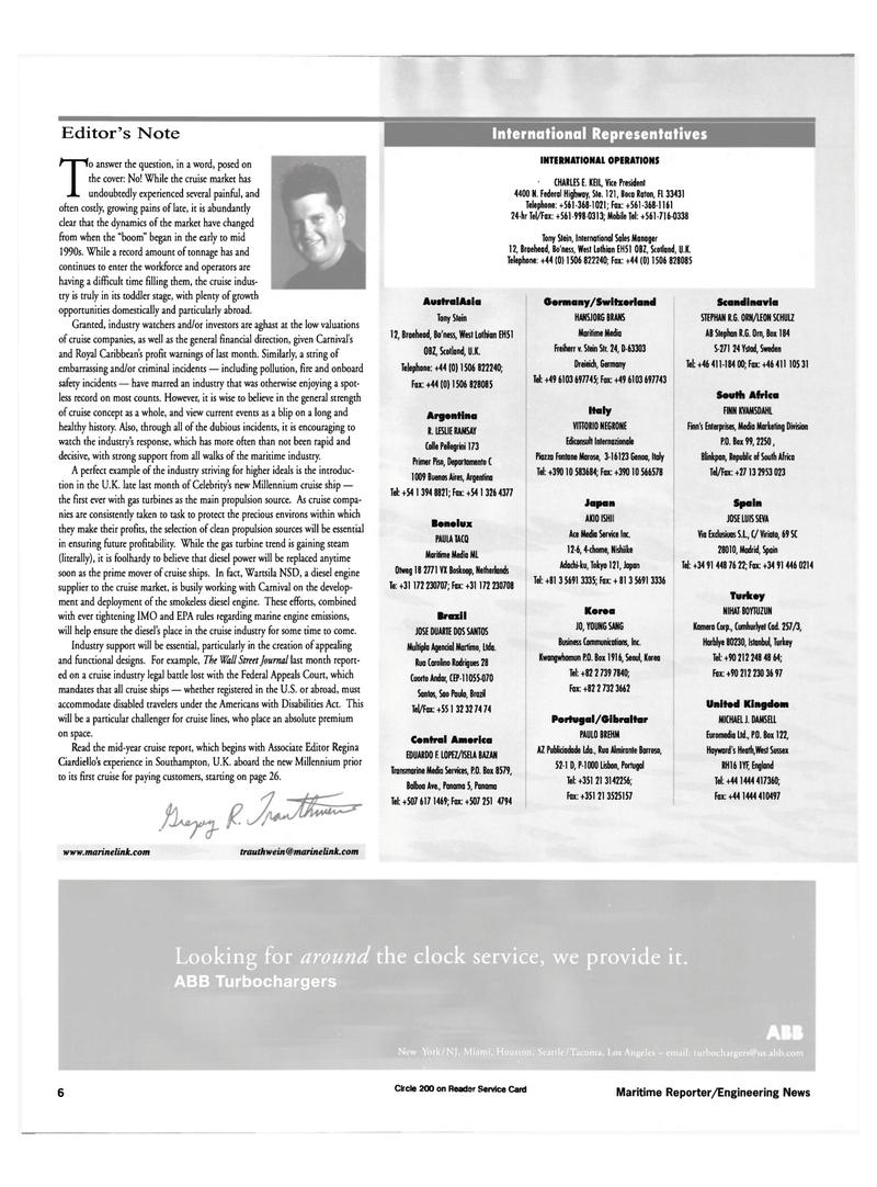 Maritime Reporter Magazine, page 6,  Jul 2000 Switzerland Scandinavia