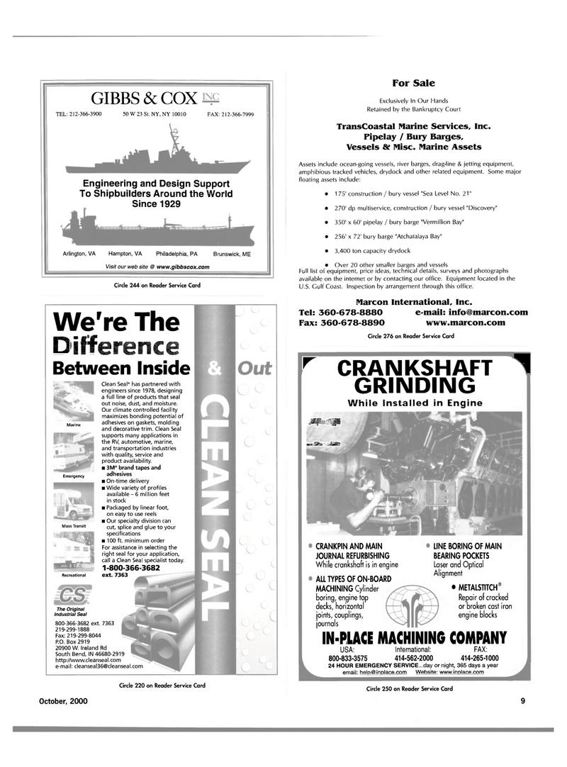 Maritime Reporter Magazine, page 9,  Oct 2000 Indiana